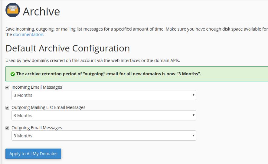cấu hình archive mail cpanel