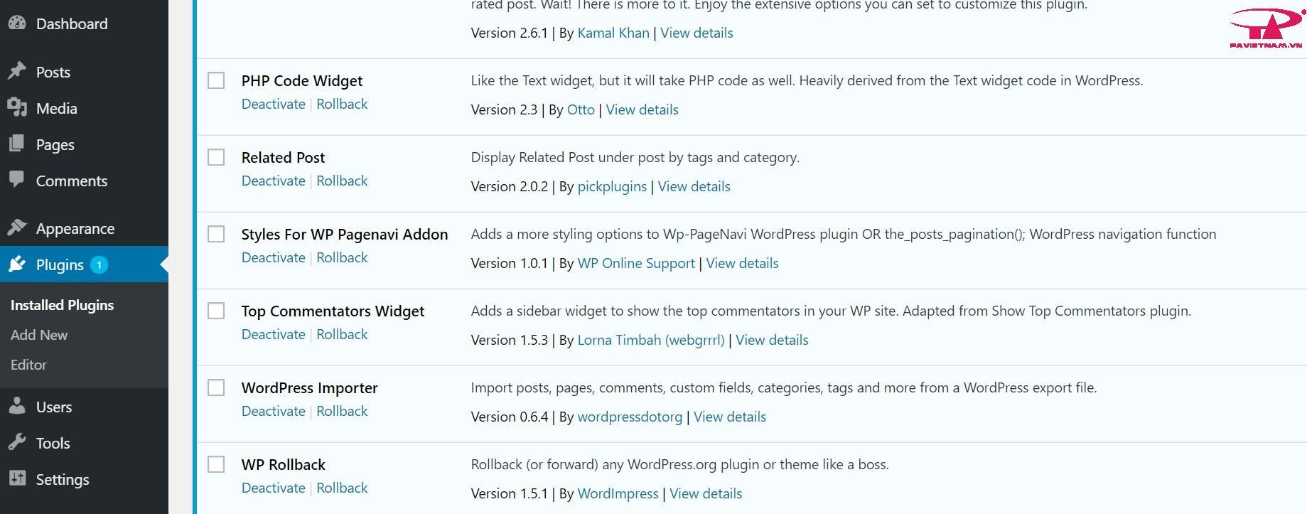 Tính năng Rollback nó đã hiển thị trong trình quản lý plugin WordPress
