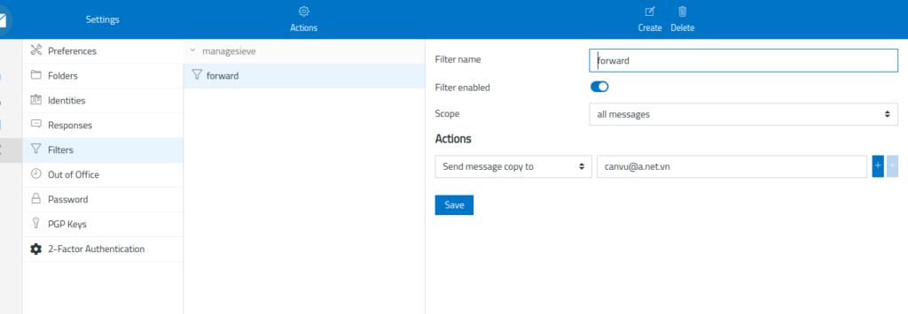 Cấu hình mail chuyển tiếp trên webmail