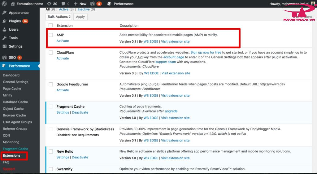 AMP WordPress W3 Total Cache