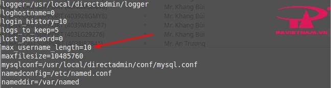 Directadmin - Tăng số lượng ký tự username khi tạo hosting Directadmin