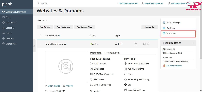 Hướng dẫn cài đặt Wordpress trên Plesk